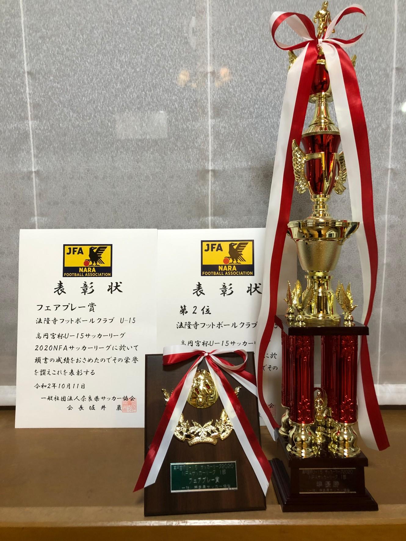 高円宮杯 奈良県U-15サッカーリーグの表彰